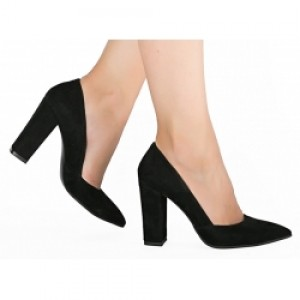 Pantofi stiletto piele naturala neagra B316