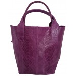 Geanta Alexa Croco violet piele naturala