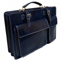 Geanta piele office KRISTY X  - albastra