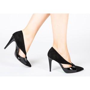 Pantofi din piele naturala negri B378