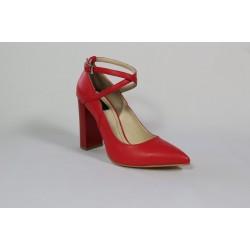 Pantofi din piele naturala - Rosu CA32