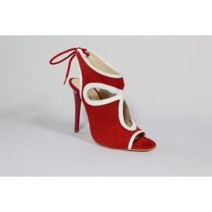Sandale din piele intoarsa naturala Rosu CA39