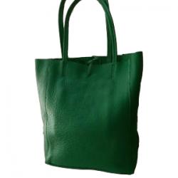 Geanta Celine Verde piele naturala cu fermoar