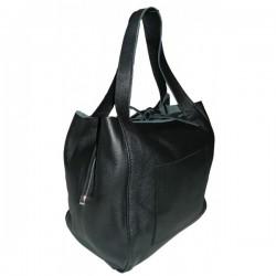 Shopper bag  negru piele naturala