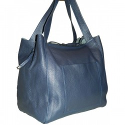 Shopper bag  Bleumarin piele naturala