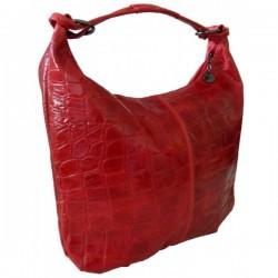 Geanta Victory croco rosie piele naturala