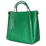 Geanta Diane croco piele naturala verde