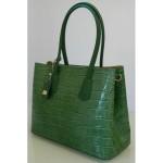 Geanta Chantal verde croco piele naturala