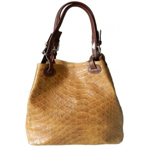 Geanta Alice Camel piele naturala