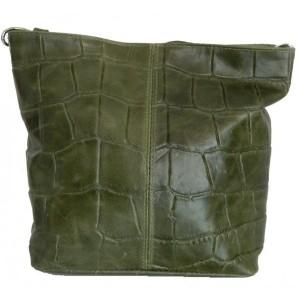 Geanta Sissi croco verde piele naturala