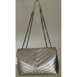 Geanta Geneve argintie piele naturala