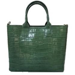 Geanta Cory verde piele naturala