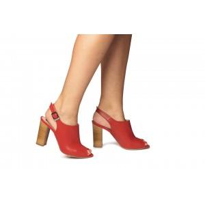 Sandale din piele naturala - rosu  CA14