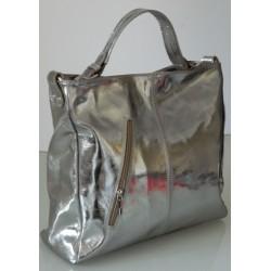 Geanta Veroniq Argintie piele naturala