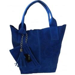 Geanta Italy albastru electric piele naturala