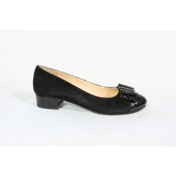 Pantofi piele intoarsa cu piele lacuita- negru CA25