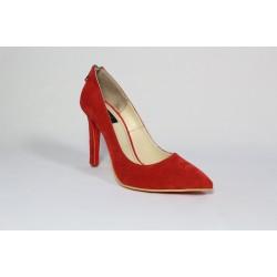 Pantofi piele intoarsa -Rosu CA38