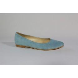 Balerini din piele natura intoarsa - bleu CA5