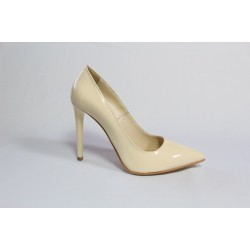 Pantofi din piele natura lacuita -Bej CA3